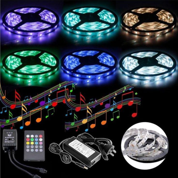 5m Music Sensor LED Strip Light with Adapter | Buy More
