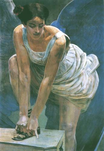 Jacek Malczewski - Nike Tying Her Sandal