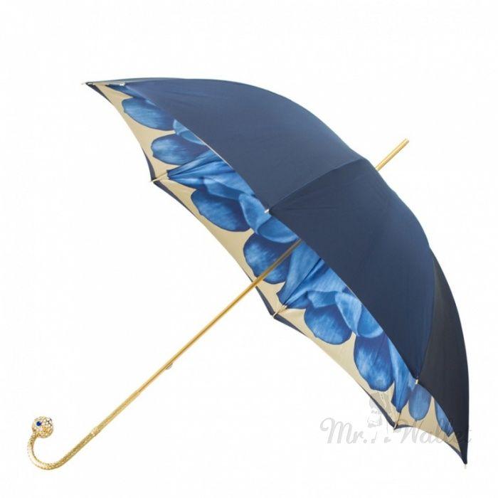 Женский зонт-трость ручной работы синий Pasotti 189-21065/13