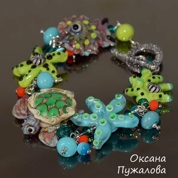 Beaded Bracelet for women sea hand bracelet with by OxanaPuzhalova