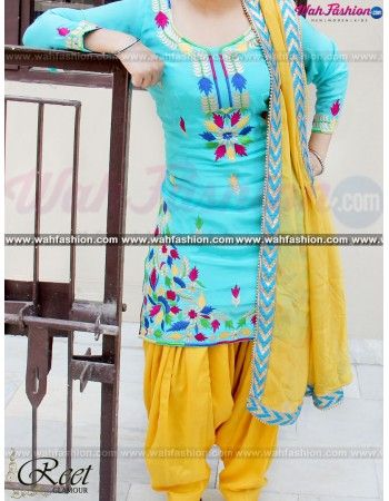 Give yourself a stylish & punjabi look with this Tempting Sky Blue And Yellow Embroidered Suit From Reet Glamour. Embellished with Embroidery And lace work. Available with matching bottom & dupatta. It will make you noticable in special gathering. You can design this suit in any color combination or in any fabric. Just whatsapp us for more details. For more details Whatsapp us on +919915178418