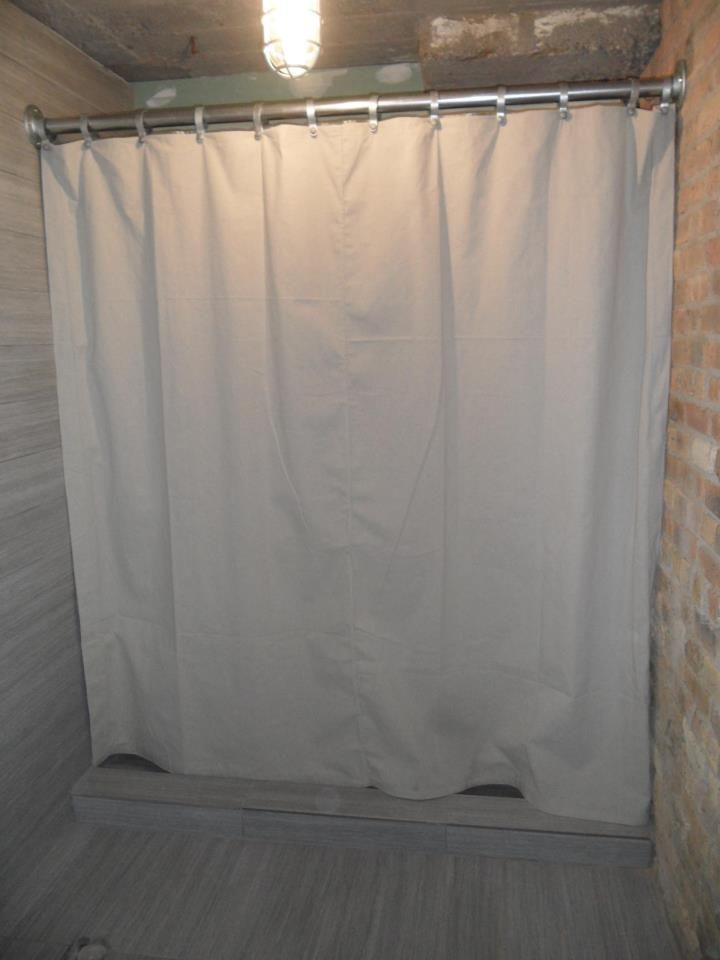 Shower Curtain From A Home Depot Drop Cloth And Rod Made From Fence Parts And Pipe Fittings