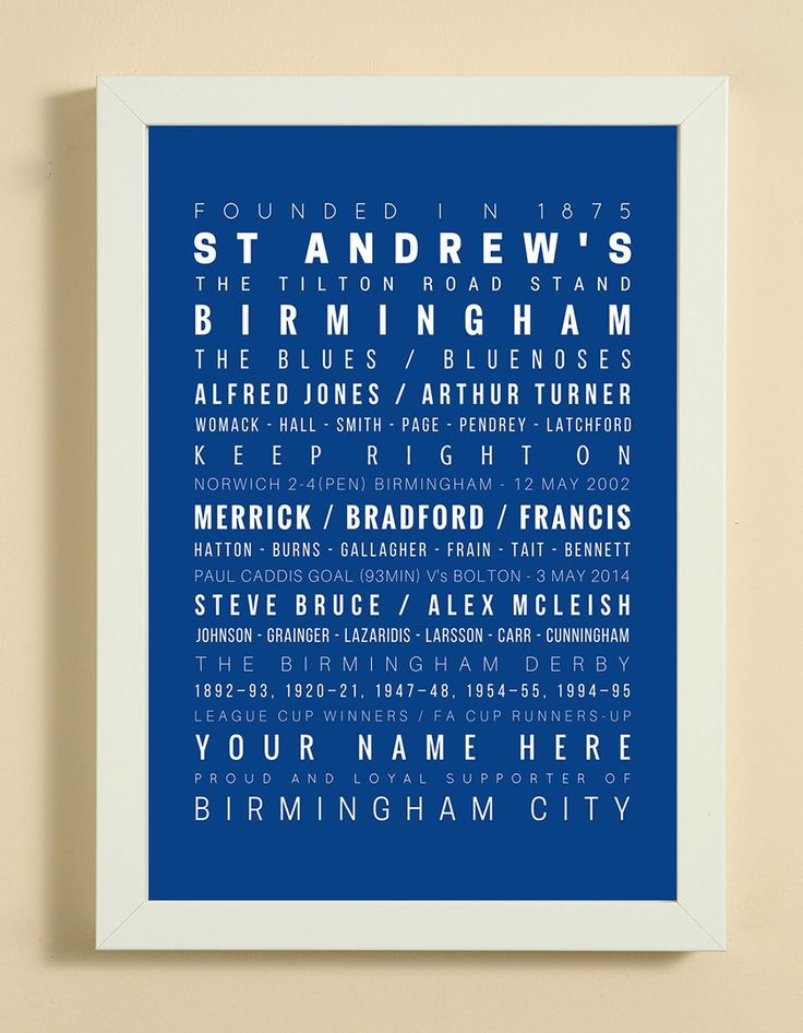 Birmingham City Football Club Word Art Design Print - Words, Names And Facts Associated With Birmingham FC - In White Or Black A4 Box Frame