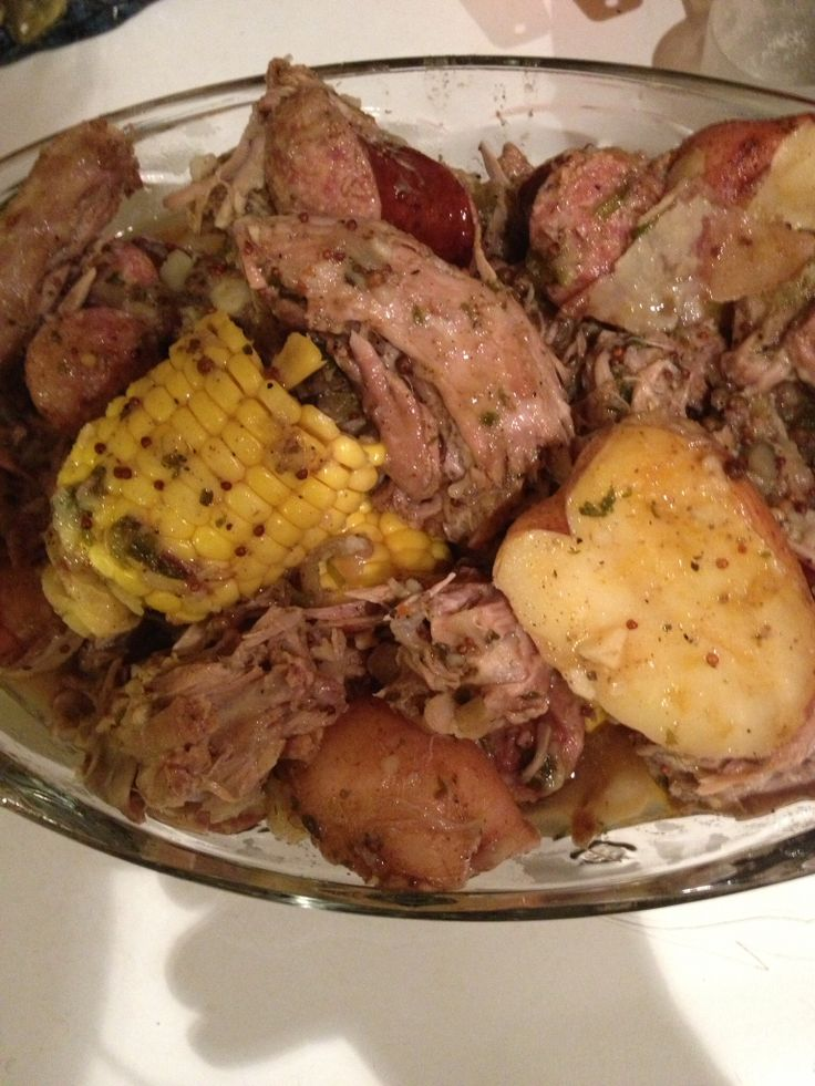 Turkey Necks Boil with Corn Potatoes and Sausage