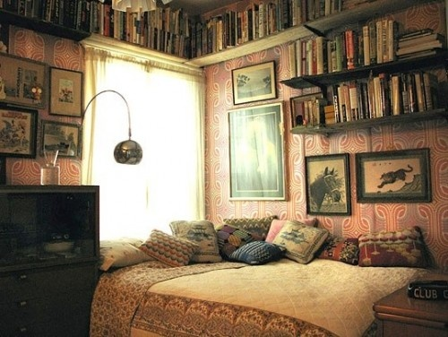 Love the wall paper idea for bedroom area, plus the shelves instead of bedside tables and bookshelves as one wall-at foot of bed?