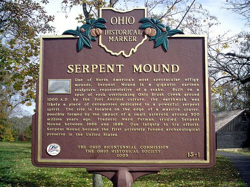 Great Serpent Mound located on the Ohio river, Ohio.