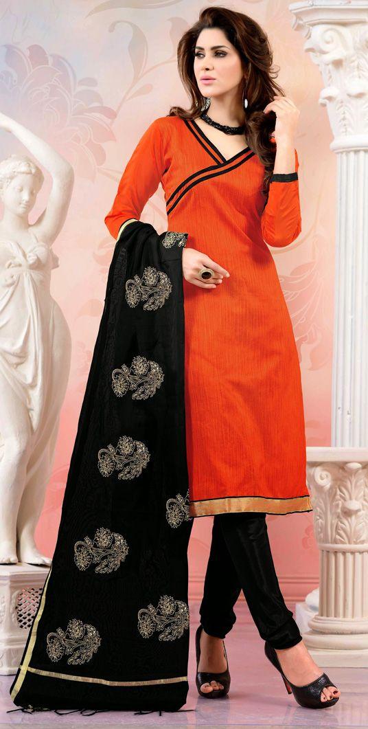 USD 20.05 Orange Chanderi Silk Churidar Suit 44493