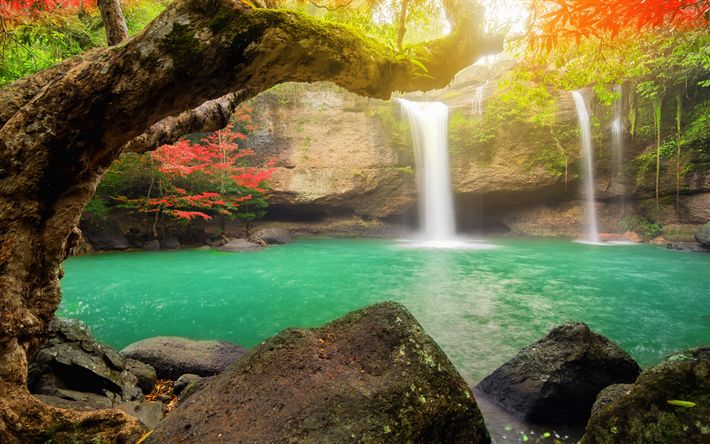 Download wallpapers emerald lake, waterfall, autumn, Thailand, rainforest, red trees