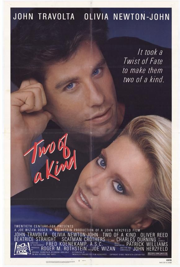Two of a Kind , starring John Travolta, Olivia Newton-John, Charles Durning, Oliver Reed. God has had just about enough of the human's attitude so he will destroy the planet very soon. It is up to a struggling inventor and a bank teller... #Comedy #Romance #Fantasy