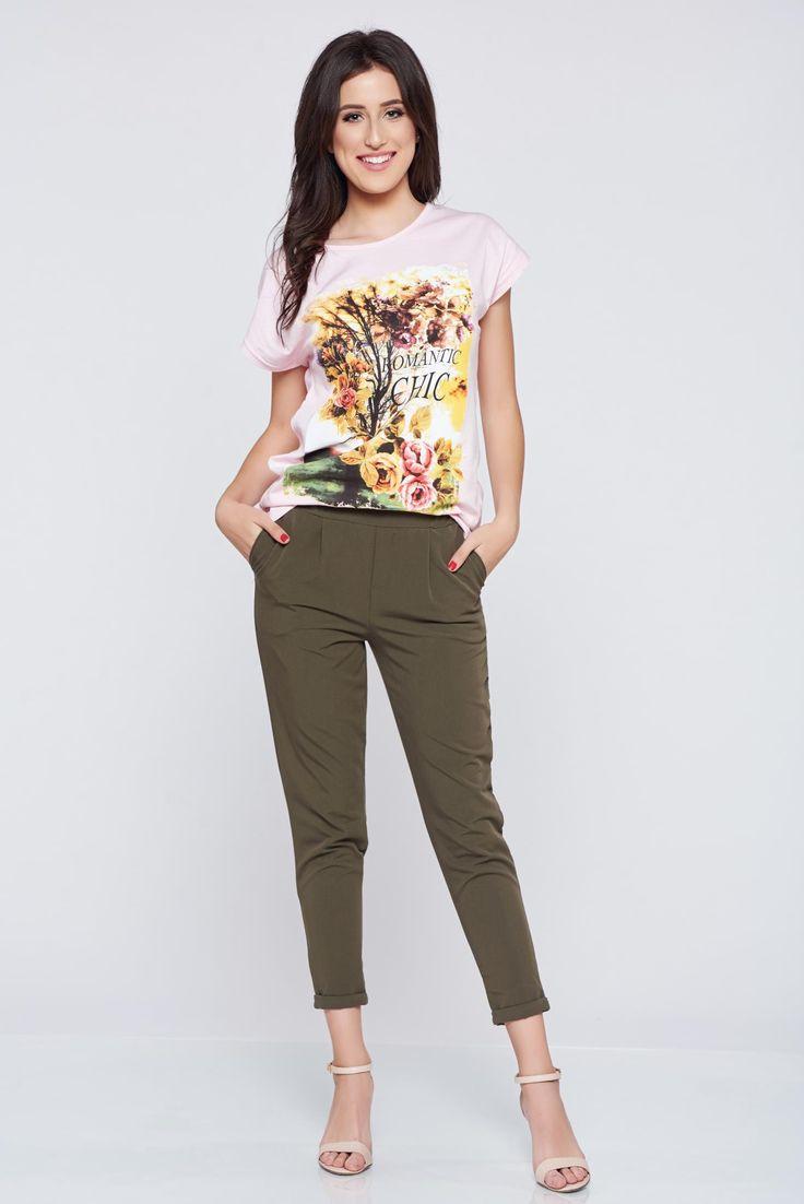 Comanda online, Pantaloni casual conici verde inchis cu elastic in talie. Articole masurate, calitate garantata!