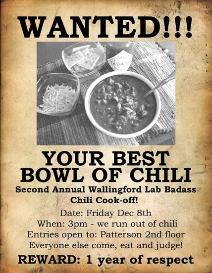 "Chili Cook-Off Wanted Poster -""REWARD:  1 year of respect"""