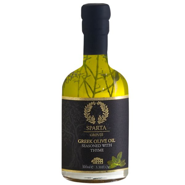 Greek olive oil from Sparta, seasoned with thyme!