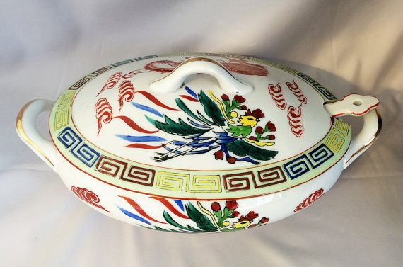 $115 - Chinese Dragon & Phoenix Bowl w/ Lid Spoon, Vintage Asian Restaurant Ware, SCARCE . . . By CoolOldStuffForSale . . .  Circa 1922-1944. Unbelievable rare find! This is a fabulous, very old, hand painted Asian porcelain soup tureen serving bowl set, featuring classic Chinese design elements and in mint condition. Three matching pieces. Wow!