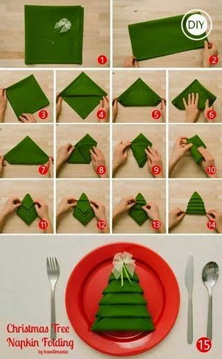 Fold a napkin like a Christmas tree - very cool and the instructions look easy enough!