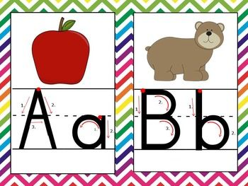 These Alphabet Posters contain lined Zaner Bloser style print with directional lines and starting points to help your students with learning to write properly within lines. Enjoy the rainbow chevron theme on these posters. Alphabet Posters Lined Zaner Bloser, Directional Arrows, Chevron