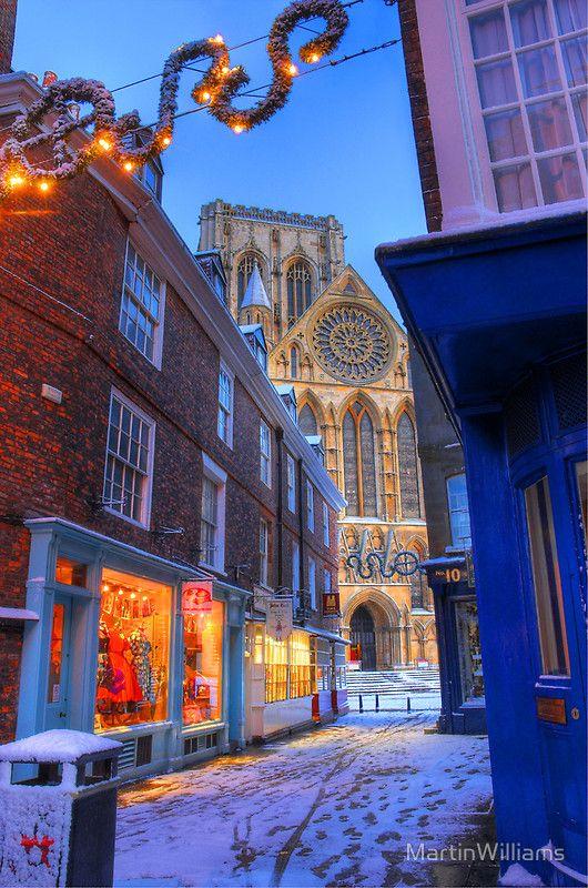 Peppergate Street & York Minster at Christmas,  Yorkshire, England