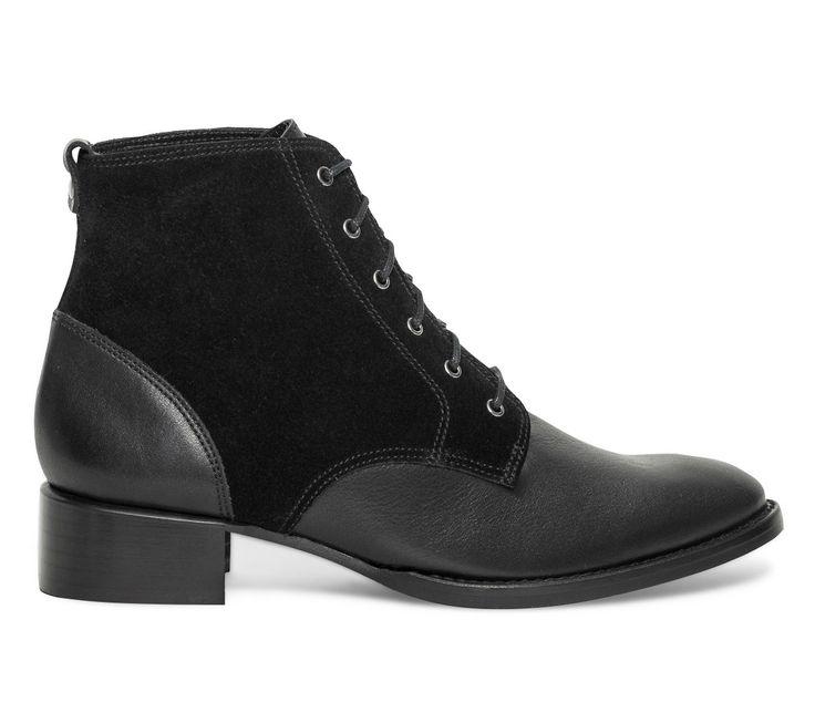 Boots lacets cuir noir - Boots / bottines - Chaussures femme