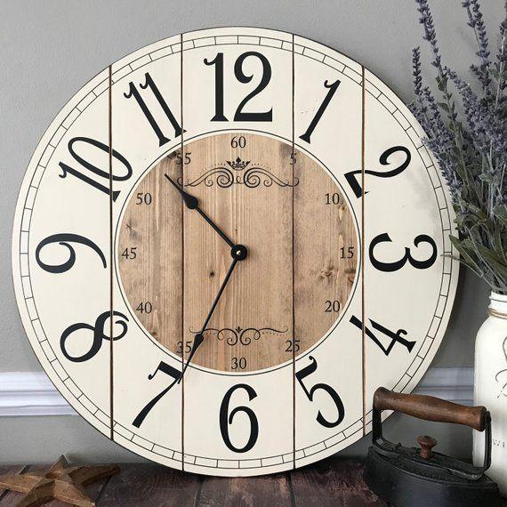 22 Inch Wooden Farmhouse Clock Arabic Numbers Rustic Wall Etsy Rustic Wall Clocks Farmhouse Clocks Small Wall Clock