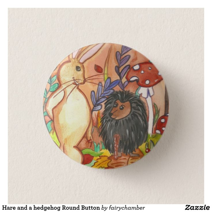 Hare and a hedgehog Round Button