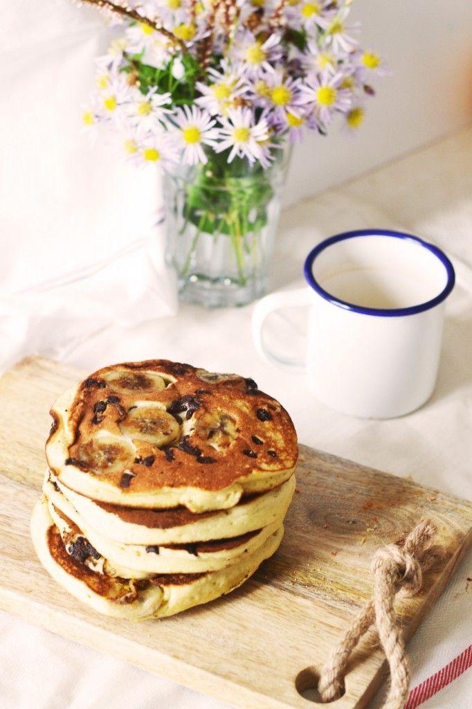 Pancakes bananes, pépites de chocolat au lait d'amande