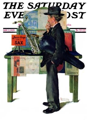 "Man with violin under arm, looks at saxophone for sale   "" Jazz It Up""   Norman Rockwell   November 2, 1929  Saturday Evening Post"