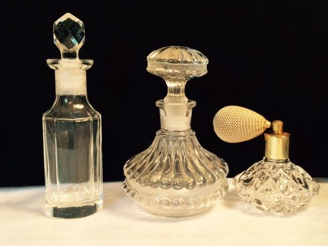 Lot of 3 Nice Perfume Bottles. Heavy Clear and Atomizer. Nice lot. in Collectibles | eBay