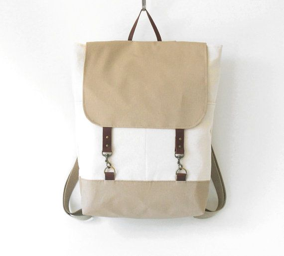 Ivory and beige canvas backpack, laptop backpack, school bag with leather closures, 2 front pockets, Design by BagyBags via Etsy