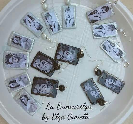 """Collezione MITI - orecchini e ciondoli in alluminio e cristalli. Segui la pagina Facebook """"La Bancarelga by Elga Gioielli"""" #gioielli #fattoamanoinitalia #fashion #handmade #madeinitaly #artigianato #jewels #madewithlove❤️ #earrings #fattoamano #handmade #sophialoren #marilynmonroe #audreyhepburn #brigittebardot  #madewithlove"""