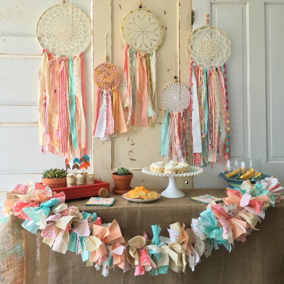 """Dream Catcher, Custom Made dreamcatcher for Boho Baby Shower or other Boho Chic Party.  12"""" handmade Party Decoration"""