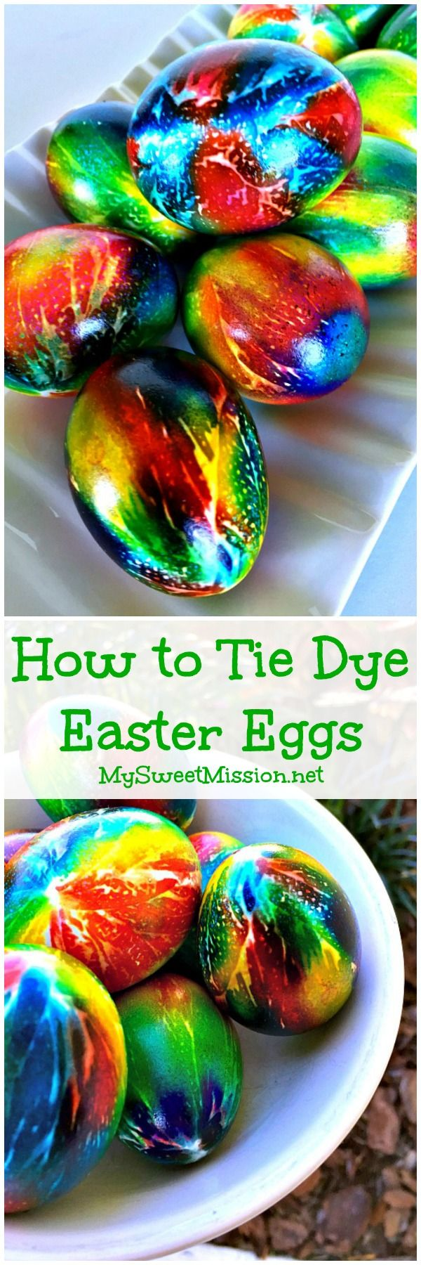 Say good-bye to dull, boring, washed-out Easter eggs, because this awesome technique on How to Tie Dye Easter Eggs will give your eggs intense colors with a high gloss sheen! | My Sweet Mission