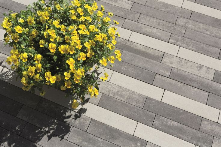 """Trudno o bardziej pomysłowy, a zarazem pełen prostoty produkt przeznaczony do tworzenia funkcjonalnych mozaik w ogrodzie. Niekwestionowaną zaletą płyt Metrik, o powierzchni w kształcie prostokąta, jest możliwość wykorzystania ich w aranżacjach opartych na wzorze """"jodełki"""".  #Polbruk"""
