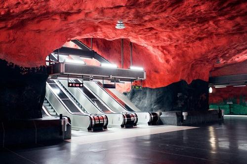 Estación central del metro, Estocolmo, Suecia.