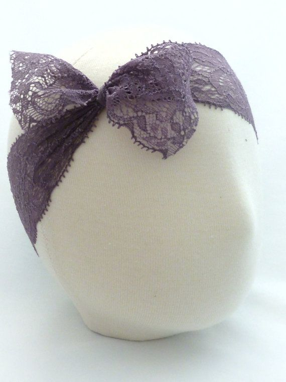 Baby Headband Plum Stretch Lace