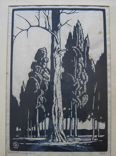 A black and white woodcut of trees by Pierneef