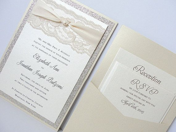 Glitter Invitation Wedding Invitation Elegant by LavenderPaperie1