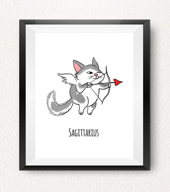 SAGITTARIUS CAT ART PRINT (November 22 - December 21)  This Sagittarius horoscope art print is part of our one-of-a-kind Cat-strology collection! All of our cat art prints make fun wall decorations for your home, office or a kids room! Treat yourself or give them as a gift to someone special born under this horoscope sign!