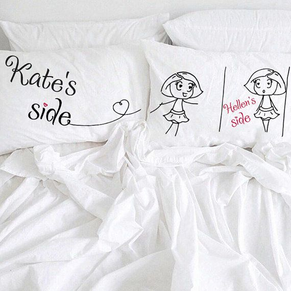 Personalized Lesbian Couples Pillow Cases, (Set of 2)  Very romantic, funny and interesting Valentines gift for your love or just amazing couple gift. Will decorate every bedroom and make it sweet, romantic and comfy with a little bit of fun! Great idea to say I Love You or to say This is MY SIDE :)  Probably one of the best lesbian anniversary, engagement or gift for lesbian wedding. Yours Mrs and Mrs will be happy to get that pillowcases.  Made of 100% very soft organic cotton. All…
