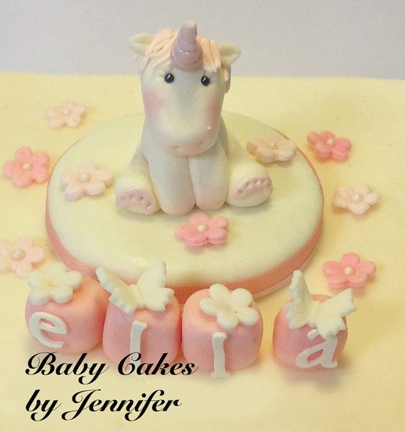 EDIBLE UNICORN BABY Shower Cake Topper by BabyCakesByJennifer, $25.00
