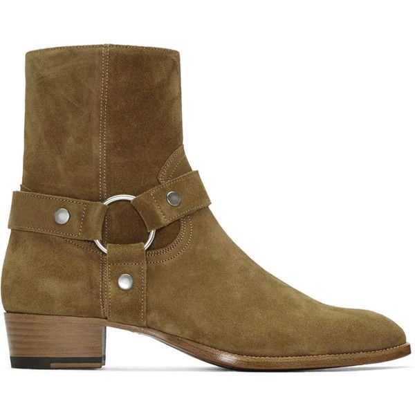 Saint Laurent Brown Suede Wyatt Harness Boots ($1,230) ❤ liked on Polyvore featuring men's fashion, men's shoes, men's boots, mens zip boots, mens brown shoes, yves saint laurent mens boots, mens brown suede chelsea boots and mens zipper boots