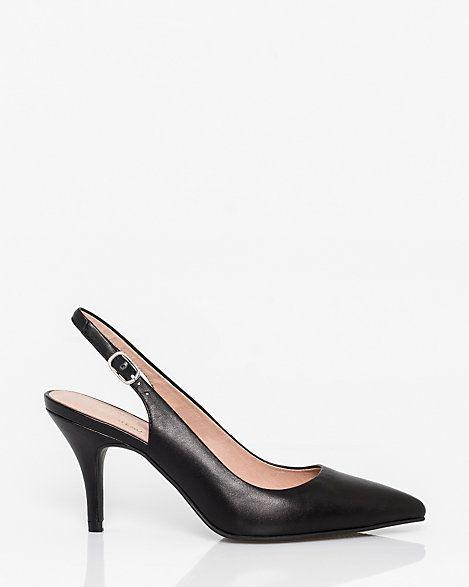 LE CHÂTEAU: Leather Pointy Toe Slingback