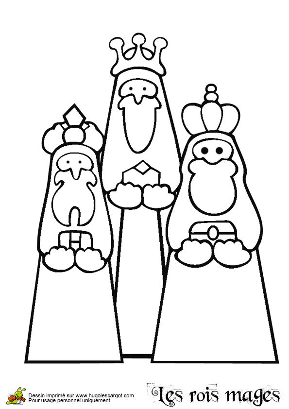 Les Rois Mages apportant leurs cadeaux à colorier.