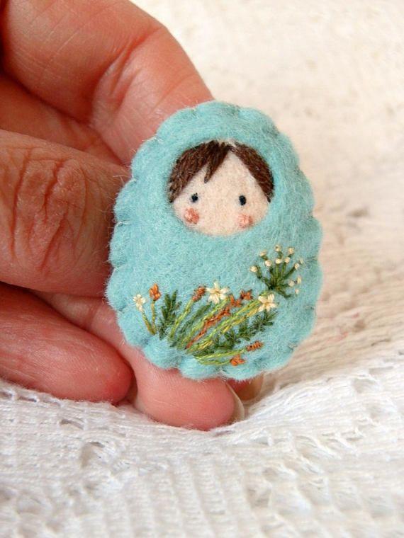 Felt doll Russian small wild flowers brooch