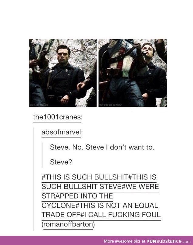''We were strapped into the Cyclone.'' HAHAHAHAHA!! / Captain America : The First Avenger