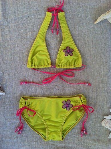 Bikini lemon met paarse bloem - alamano.nl
