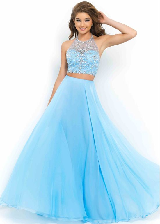 2015 quinceanera two piece | Powder Blue Halter High Neck Beaded Chiffon Two Piece Party Dress