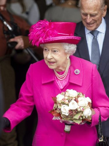 Queen Elizabeth, Oct 22, 2013 | The Royal Hats Blog-HM with the Duke of Edinburgh visited the National Theatre in London