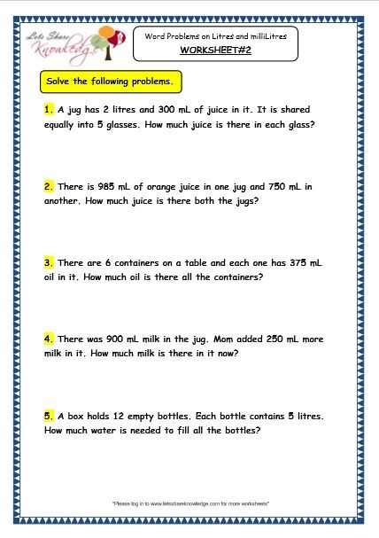 Measurement of Capacity - Word Problems on Litres and ...