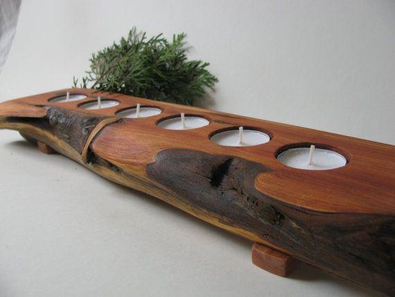 Split log candle holder. Rustic juniper wood tea light candle holder.  Wooda Cooda, Golden BC.