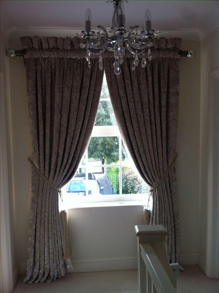 Wemyss Diva crushed velvet curtains rouched on pole