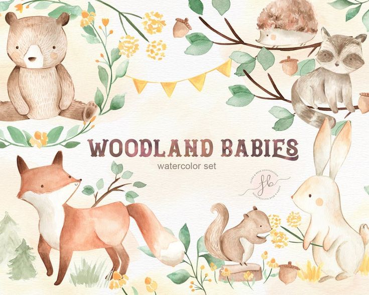 Watercolor Clipart Woodland Animals Woodland Clipart Floral Clipart Nursery Decor Printable Wall Art Woodland Nursery